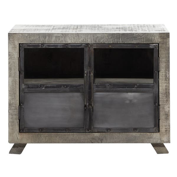 Large Wood Kitchen Cabinet W Vintage Style Doors And Distressed Grey Finish 37 X28 37 X 20 X 28 On Sale Overstock 32133972
