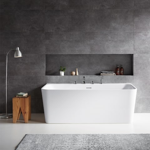 Vinnova Dashiel White Acrylic 67 in. Freestanding Soaking Bathtub - 67 inches