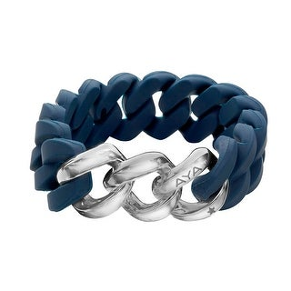 Silix by Aya Navy Silicon Bracelet with Sterling Silver-Plated Stainless Steel - White