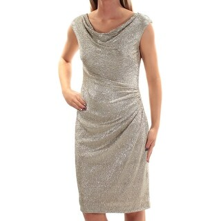 RALPH LAUREN $175 Womens New 1349 Gold Gathered Metallic Sheath Dress 2 B+B