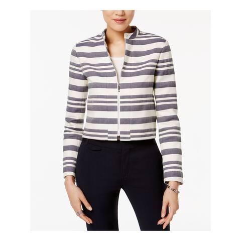 TOMMY HILFIGER Womens Ivory Striped Zip Up Jacket Size 2