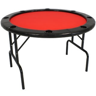 Sunnydaze 6-Player Folding Round Poker Table with Cushioned Rail and Cup Holders