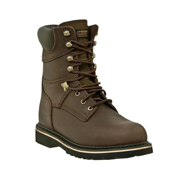 McRae Industrial Work Boots Mens Leather Steel Toe Lacer Brown