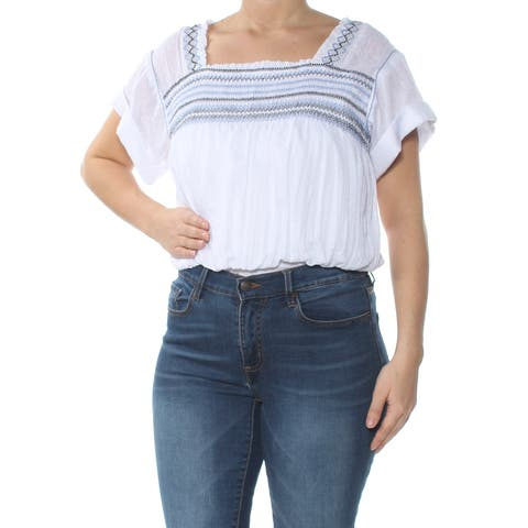 FREE PEOPLE Womens White Embroidered Short Sleeve Square Neck Top Size: M