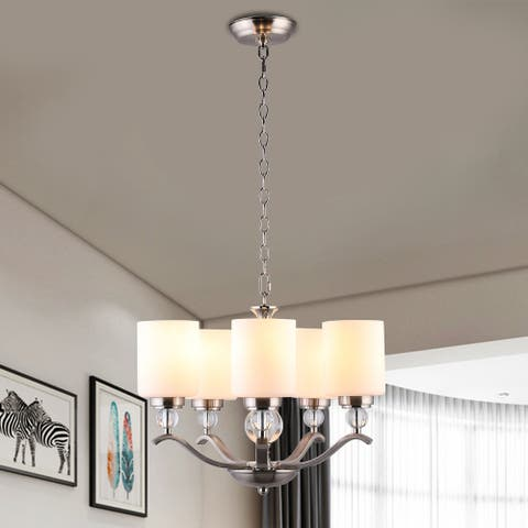 CO-Z 5-Light Stain Brushed Nickel Chandelier with Crystal Balls - Opal glass
