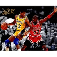 Magic Johnson Los Angeles Lakers Action Spotlight 8x10 Photo wMichael Jordan