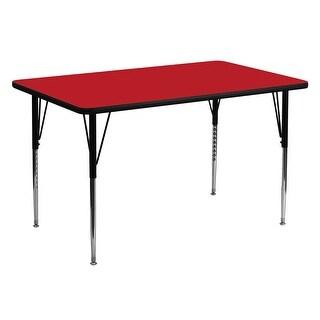 Fun & Games Activity Table 30''W x 60''L Rectangular Red High Pressure Laminate Adj Height