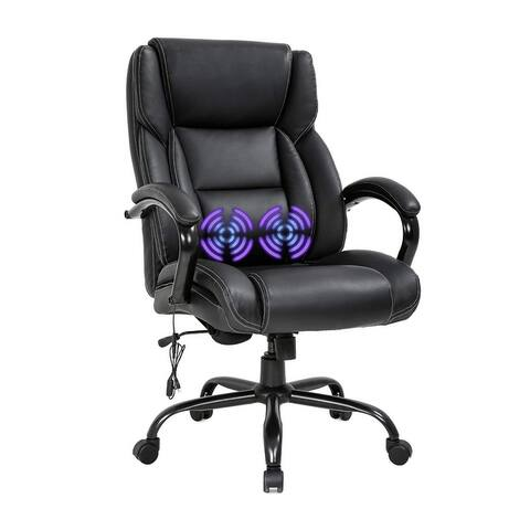 Global Pronex PU Massage Big and Tall Office Cchair w/ Headrest and USB Lumbar Support, Black - 24 W x 21.5 D x 46.5 H inch