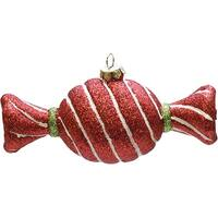 "4.75"" Merry & Bright Red  White and Green Glitter Stripe Shatterproof Christmas Candy Ornament"