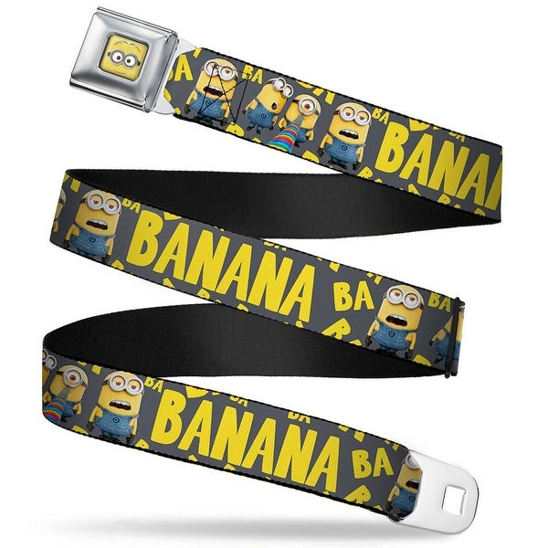Minion Dave Face Close Up Full Color Minions Banana Ba Ba Scattered Gray Seatbelt Belt