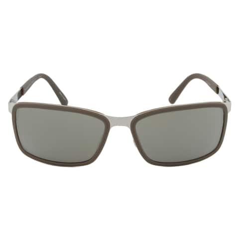 Porsche Design Design P8552 D Rectangular Sunglasses Brown/Silver Frame Grey Lens - 62mm x 16mm x 130mm