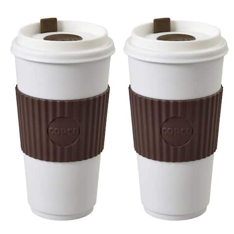 Copco To Go Travel Mug With Spillproof Lid Insulated BPA Free 16 Oz 2 Pack - Brown - Brown - White