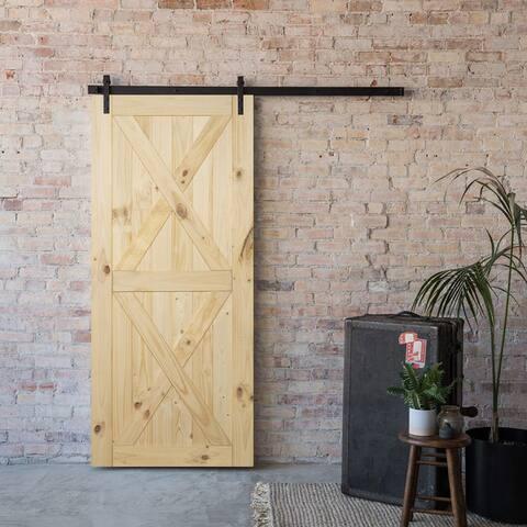 """BELLEZE Pine Unfinished Sliding DIY Barn Double X Door 36"""" x 84"""" - standard"""