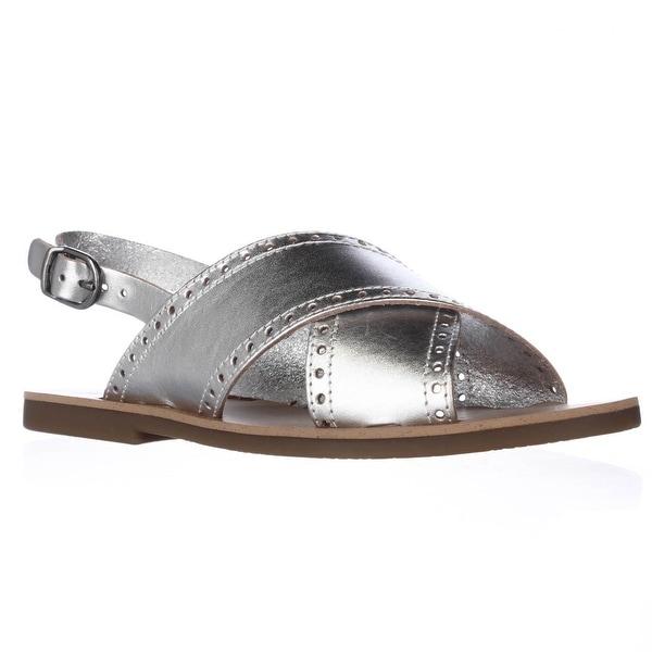 Lucky Brand Birchess Flat Slingback Sandals, Silver - 6 us / 36 eu