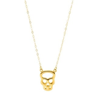 Just Gold Teeny Tiny Silhouette Skull Necklace in 10K Gold - Yellow
