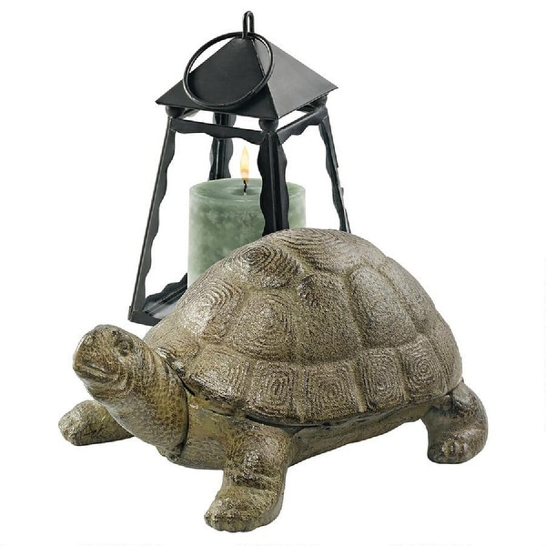 """10"""" Turtle Laid Back Outdoor Iron Statue - N/A"""