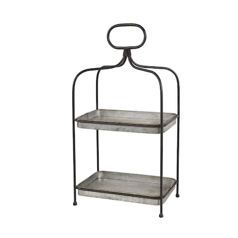 2 Tier Rectangular Metal 2 Tiered Tray with Handle - 14 x 9 x 26