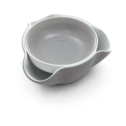 Joseph Joseph DDWGR010GB Double Dish Pistachio Bowl and Snack Serving Bowl, Gray/White