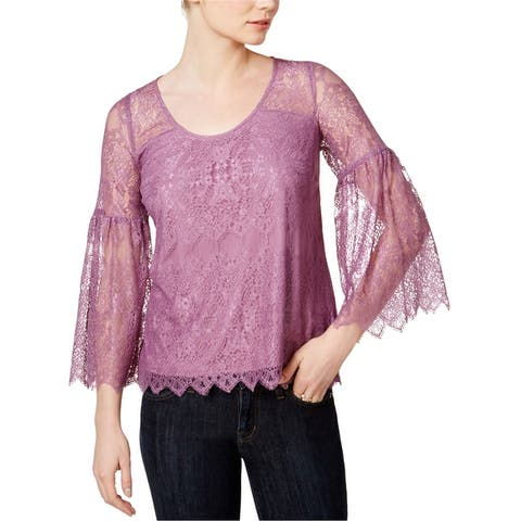 Kensie Womens Lantern-Sleeve Knit Blouse