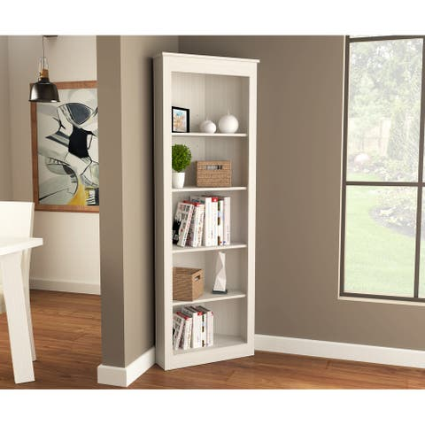 Inval 71-inch 5 Shelf Engineered Wood Corner Bookcase