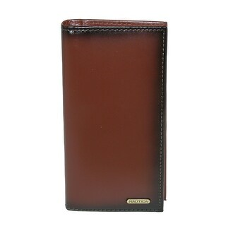 Nautica Men's Leather Burnished Edge Checkbook Secretary Wallet - One size