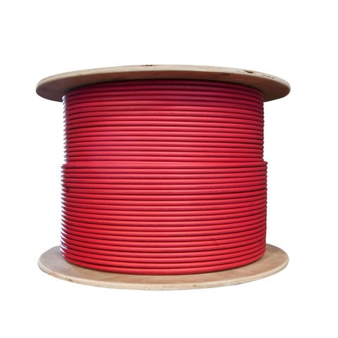 Offex Bulk Shielded Cat6 Red Ethernet Cable, STP (Shielded Twisted Pair), Solid, Spool, 1000 foot