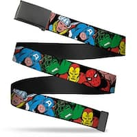 Marvel Comics blank Black Buckle 5 Marvel Characters Black Webbing Web Belt