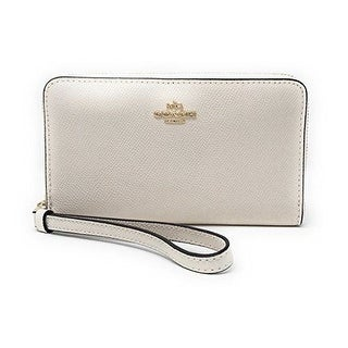Coach F58053 Crossgrain Leather Zip Phone Wallet - Chalk