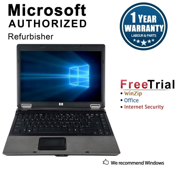 Refurbished HP Compaq 6530B 14.1'' Laptop Intel Core 2 Duo P8400 2.26G 4G DDR2 160G DVD Win 10 Pro 1 Year Warranty - Black