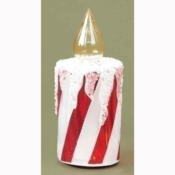 "7"" Icy Candy Cane Striped Glass Christmas Candle Table Top Figure - multi"