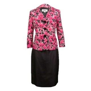 Le Suit Women's Rose Garden Floral Skirt Suit - wild orchid multi/black