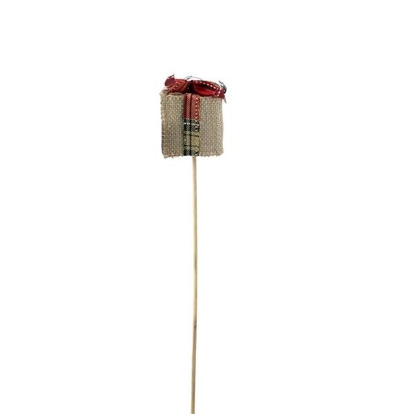 """16"""" Holiday Moments Decorative Tan Burlap Christmas Gift Box Pick - brown"""