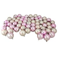 "60ct Blush Pink Shiny and Matte Shatterproof Christmas Ball Ornaments 2.5"" (60mm)"