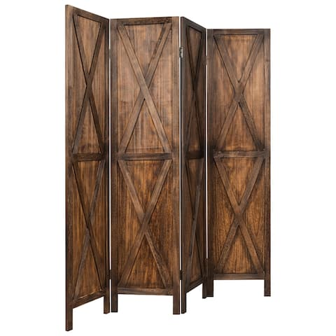 Gymax 5.6Ft Folding 4-Panel Wood Room Divider Privacy Screen Home - See Details