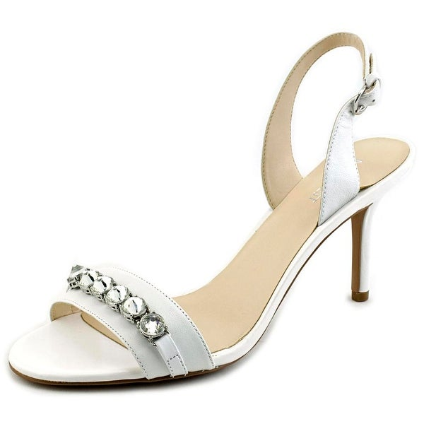 Nine West Ganiston Women Open-Toe Leather White Slingback Heel