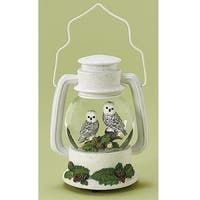 """10"""" Musical White Glittered Snow Owls Wind-Up Christmas Glitterdome"""