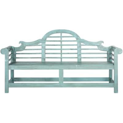 "SAFAVIEH Outdoor Living Khara Beach House Blue Bench - 76.8""x23.2""x40.6"""