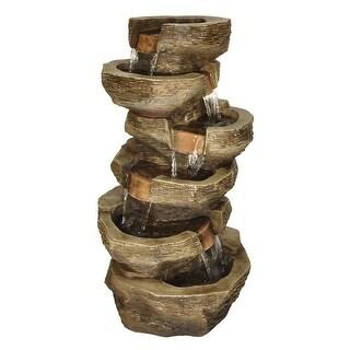 "Zenvida Tiered Rock Waterfall Outdoor Garden Fountain 39"""