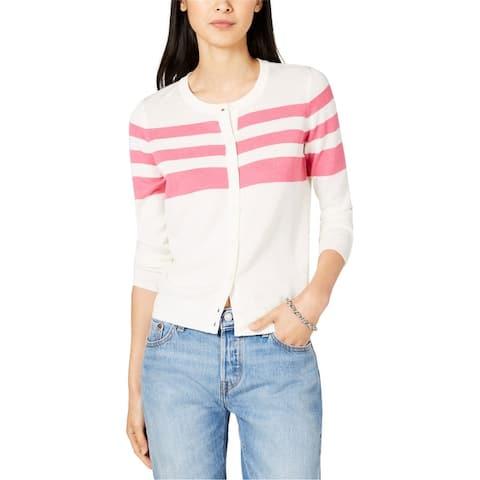 Maison Jules Womens Striped Cardigan Sweater