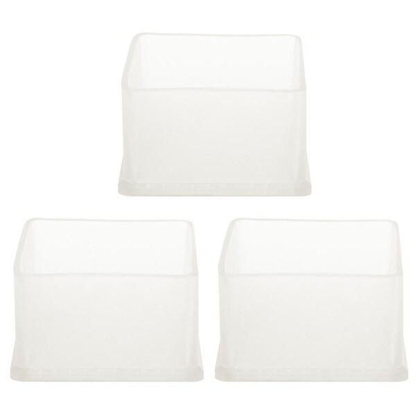"Clear PVC Chair Leg Caps End Tip Feet Cover Furniture Slider Floor Protector 3pcs 2.36"" x 2.36"" (60x60mm) Inner Size"