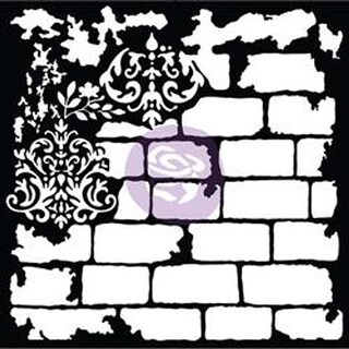 """Brick And Damask - Prima Re-Design Mixed Media Decor Stencil 22""""X22"""""""