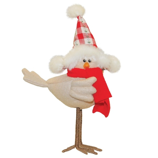 """8.25"""" Standing Beige Bird with Red Scarf and Hat Tabletop Decoration - brown"""