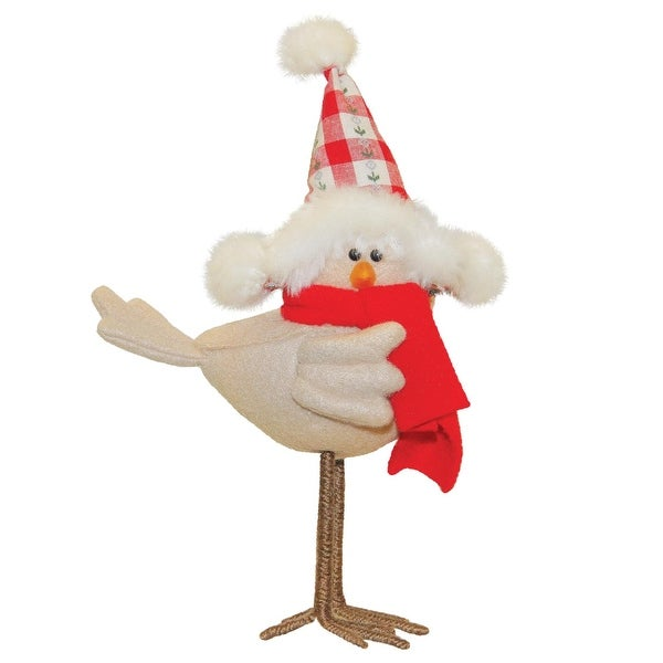 """8.25"""" Standing Beige Bird with Red Scarf and Hat Tabletop Decoration"""
