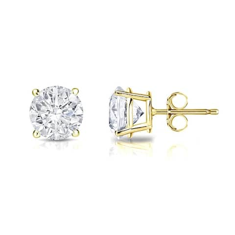 Auriya 14k Gold 1ctw Clarity-enhanced Round Diamond Stud Earrings