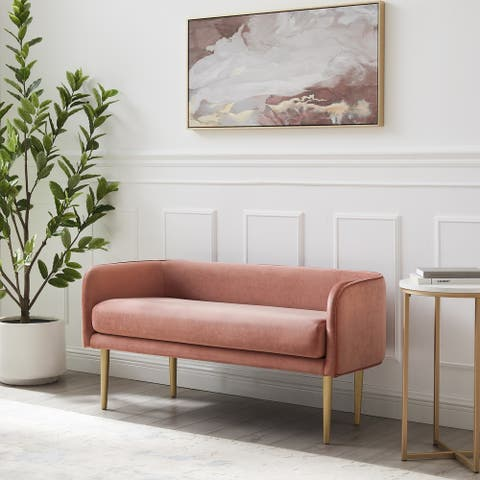 Mira Upholstered Bench with Metal Legs