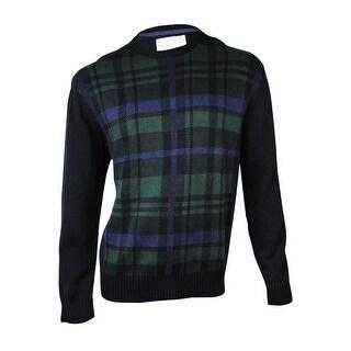 Weatherproof Men's Plaid Knit Crewneck Sweater