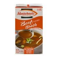Manischewitz Beef Flavored Broth - Case of 12 - 32 Fl oz.
