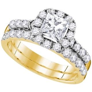 14k Yellow Gold Princess Diamond Bridal Wedding Engagement Ring Band Set 1 & 7/8 Cttw - White