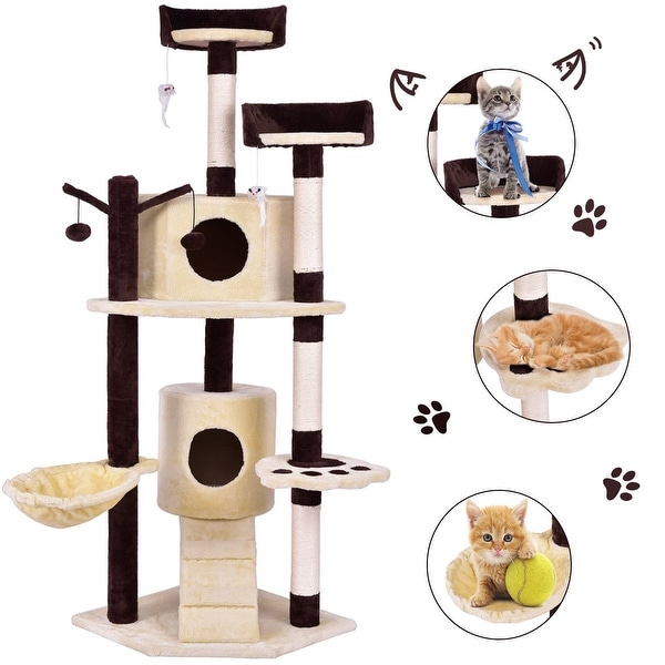 Shop Gymax 63 Cat Tree Pet Play House Tower Condo Bed Scratching