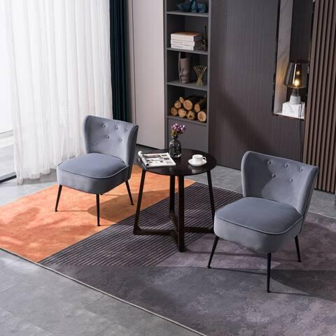 AOOLIVE 2Pcs Adjustable Modern Upholstered Velvet Accent Chair, Navy